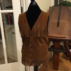 Vintage Joo-Kay Brown Fringed Suede Leather Vest